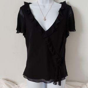 Liz Claiborne Blouse Ruffle V-neck Short Sleeve